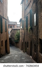 Street in Siena. Ancient Medieval Town in Italy.