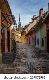 Street of Sighisoara medieval city in Transylvania, Romania