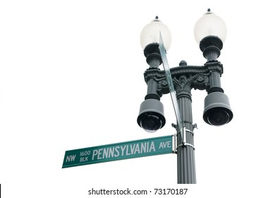 Street sign of 1600 NW Pennsylvania Avenue White House address in Washington DC USA isolated on white background