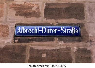 A street sign for Albrecht Durer Strasse in the city of Nuremberg in Germany.