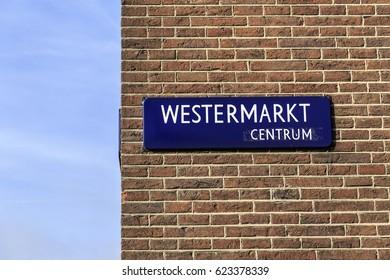 Street sign in Amsterdam, Netherlands