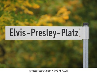 Street sign in Bad Nauheim in honor of Elvis Presley