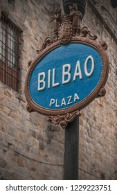 Street Sign in Bilbao, Basque Country, Spain, With the name of the city Vitoria-Gasteiz