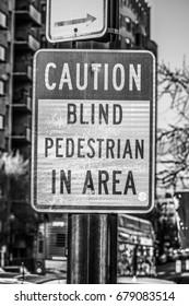 Street sign Blind Pedestrian in Area - WASHINGTON DC / COLUMBIA - APRIL 7, 2017