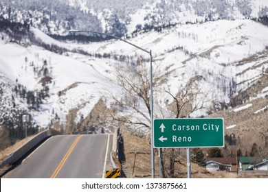 Street sign to Carson City and Nevada
