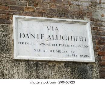 street sign of Dante in Verona in Italy