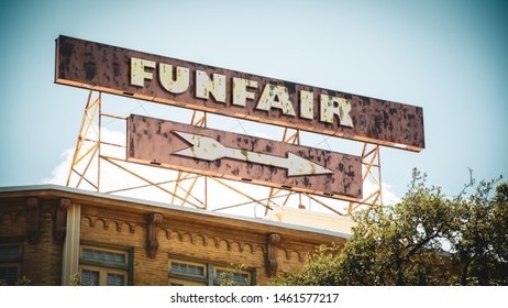 Street Sign the Direction Way to Funfair