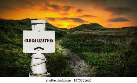 Street Sign the Direction Way to Globalization