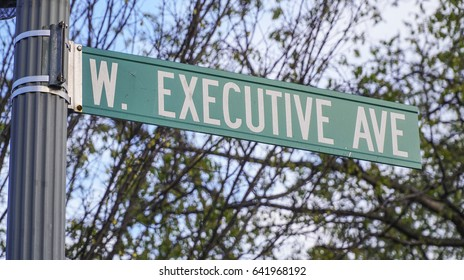 Street sign Executive Avenue in Washington - WASHINGTON DC / COLUMBIA - APRIL 7, 2017