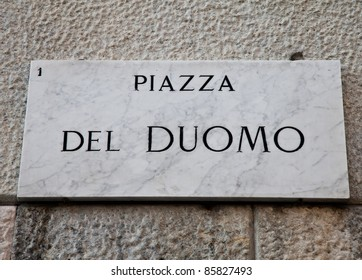 Street sign of famous interesting point in Milan center - Italy