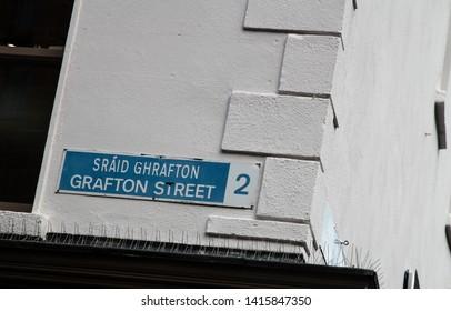 street sign of grafton street in dublin - symbol for shopping in ireland