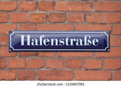Street sign of the Hafenstrasse in Stralsund, Germany