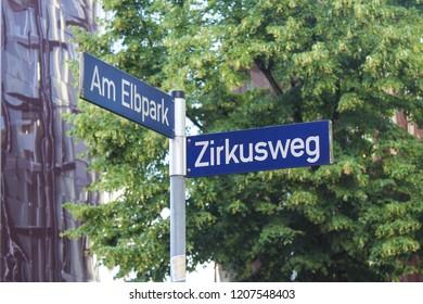 Street sign in Hamburg, Germany.