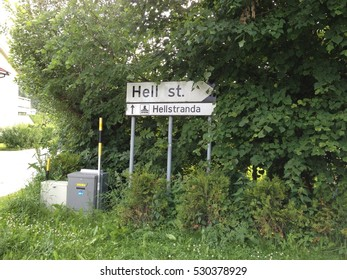 street sign in Hell, Norway