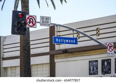 Street sign Hollywood Boulevard - LOS ANGELES / CALIFORNIA - APRIL 20, 2017