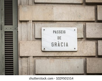 Street sign indicating to the public they are in Passeig de Gracia, Barcelona, Spain