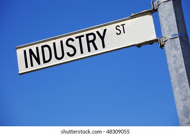 A street sign of Industry