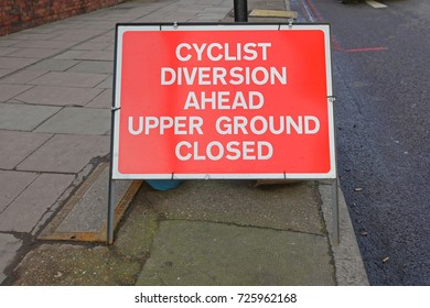 Street Sign Informing Cyclist About Diversion Ahead
