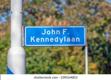 Street Sign John F Kennedylaan At Apeldoorn The Netherlands 2018
