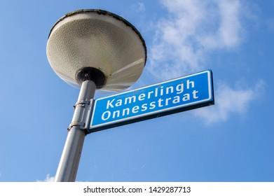 Street Sign Kamerlingh Onnesstraat At Amstelveen The Netherlands 2019