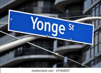 A street sign for the longest street in the world, Yonge Street in Toronto Ontario.