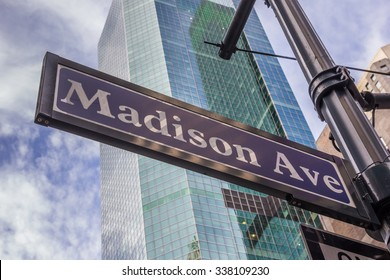 Street sign of Madison avenue in New York City, USA
