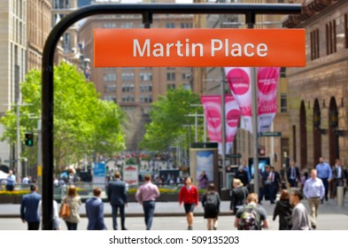 Street sign of Martin Place in Sydney New South Wales, Australia