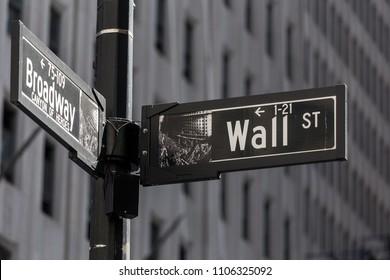 Street sign in New York Ciy. Walls street, Broadway.
