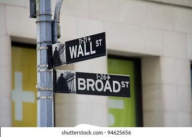 Street sign of New York Walls street / Broadway