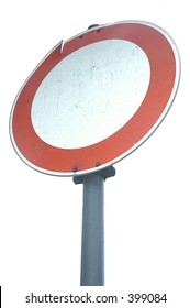 street sign -  no passaging for vehicles, note: the sign is a little bit damaged