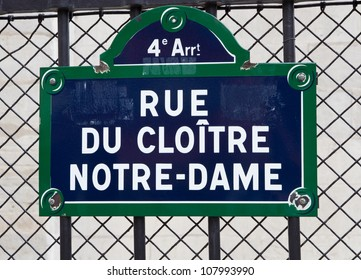 Street sign of Notre-Dame