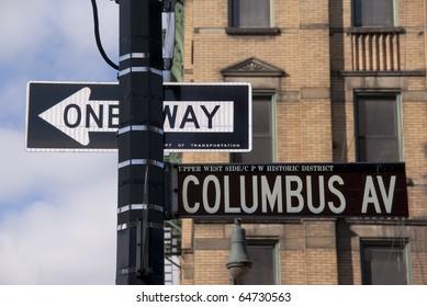 Street sign on Columbus Avenue in New York City