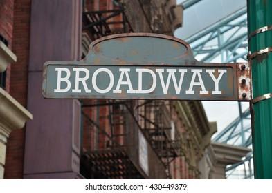 Street sign on the corner of Broadway, New York