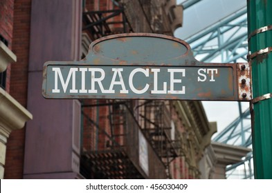 Street sign on the corner of Miracle Street