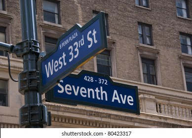 Street sign on the corner of Seventh Avenue and 33rd street in New York City.