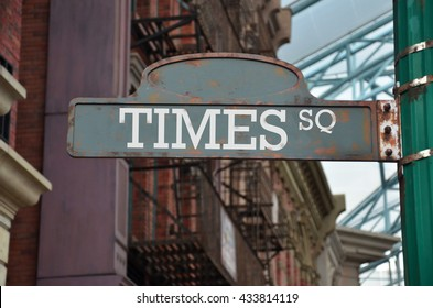Street sign on the corner of Times Square, New York