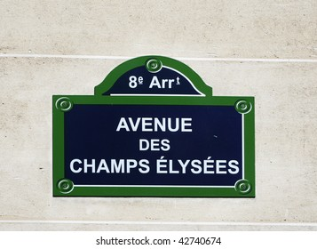 "Street sign on ""the most beautiful avenue in the world"" - Champs Elysees, Paris, France"