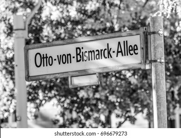 Street sign Otto von Bismarck Allee