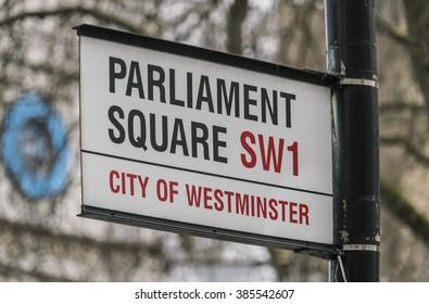 Street sign Parliament Square LONDON, ENGLAND - FEBRUARY 22, 2016