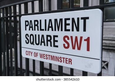 Street sign Parliament Square LONDON, ENGLAND - FEBRUARY 22, 2016