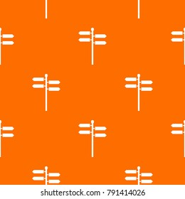 Street sign pattern repeat seamless in orange color for any design.  geometric illustration