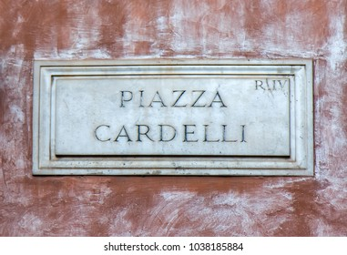 Street sign Piazza Cardelli in Rome, Italy