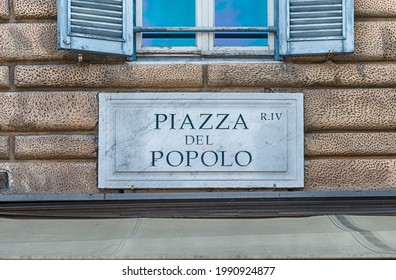 Street sign for Piazza del Popolo, iconic square and landmark in Rome, Italy