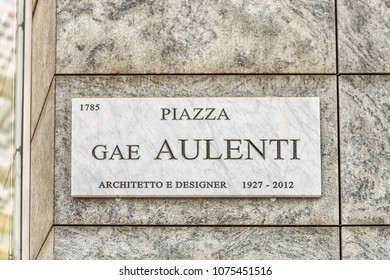 "Street sign for Piazza Gae Aulenti, scenic square in financial district of Milan, Italy. Translation: ""Gae Aulenti Square. Architect and designer 1927-2012"""