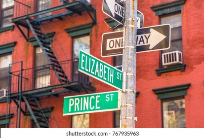 street sign prince and Elizabeth street at a crossing in Manhattan