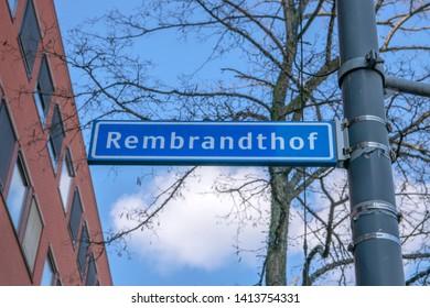 Street Sign Rembrandthof At Amstelveen The Netherlands 2019