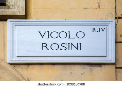 Street sign in Rome, Italy