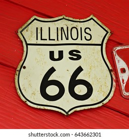 Street sign route 66 ILLINOIS US highway
