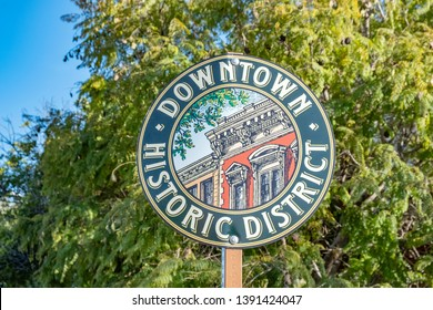 street sign in San Luis Obispo downtown historic district for tourists