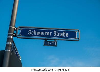 street sign schweitzer strasse in frankfurt, Germany